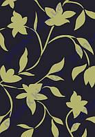 """Коврик Флорида """"Ветка с листьями и цветами"""" цвет черный с зеленым рисунком. Коврик для спальни купить"""