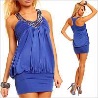 Синее платье с оригинальной спинкой