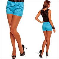 Короткие женские шорты голубого цвета с бантом