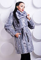 Шуба женская из эко-меха под норочку, серый леопард