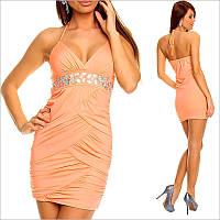 Вечернее платье персикового цвета