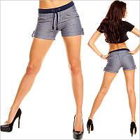 Короткие синие женские шорты на шнурке