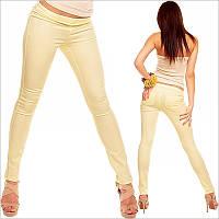 Желтые женские треггинсы облегающие , желтые женские брюки