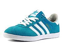 Кеды спортивные Adidas унисекс бирюзовые/ замшевые, фото 1