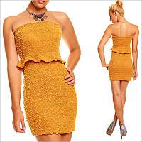 Вечернее платье горчичного цвета