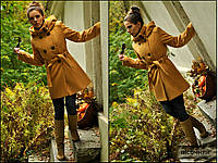 Кашемировое  весенние женское пальто песочного цвета