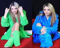 Женский махровый халат + тапочки