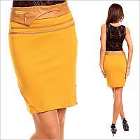 Классическая желтая юбка-карандаш