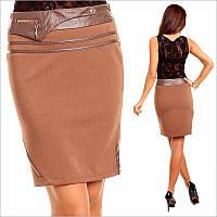 Офисная коричневая юбка-карандаш до колен