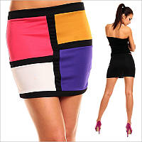 Короткая разноцветная юбка-карандаш