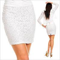 Белая юбка из гипюра