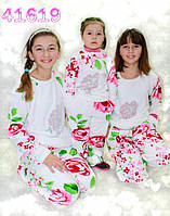 Детская махровая пижама теплая цветы