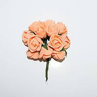 Розочка латексная оранжевая, букетик из 11 цветков, диаметр розы 15-20 мм