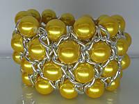 """Браслет """"Олис"""" с серебряным покрытием и жемчужными бусинами (жёлтые)."""