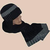 Мужская вязаная шапка-ушанка(на подкладке) с элементами кожи и шарф-петля