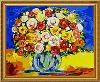 """Раскрашивание по номерам """"Розы в стеклянной вазе"""" 40х50см."""