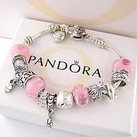Женский браслет Pandora (Пандора) с розовыми бусинами муранского стекла