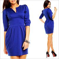 """Синее платье с юбкой - """"тюльпан"""""""