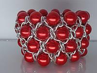 """Браслет """"Олис"""" с серебряным покрытием и жемчужными бусинами (красные)."""