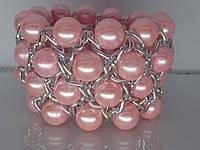 """Браслет """"Олис"""" с серебряным покрытием и жемчужными бусинами (розовые)."""