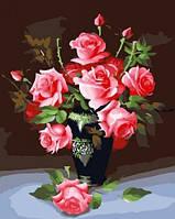 """Раскрашивание по номерам """"Розы в  вазе"""" 40х50см."""