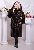 Элегантная коричневая шуба из эко-меха под норку, длинная норковая шуба коричневого цвета с капюшоном