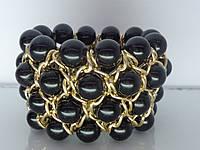 """Браслет """"Олис"""" с золотым покрытием и жемчужными бусинами (чёрные)."""