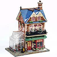 """Фарфоровый домик """"Ресторан"""", с диодной подсветкой, h-26x20x14 см."""