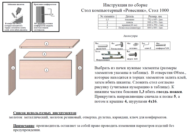 Инструкция по сборке