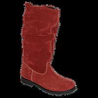 Замшевые красные зимние сапожки