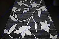 """Коврик Флорида """"Ветка с листьями и цветами"""" цвет черный с белым рисунком. Коврик для спальни купить"""