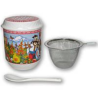 Заварник, чашка с заварником, кружка керамическая сувенирная, керамическая чашка оптом
