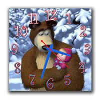 """Настенные детские часы """"Маша и медведь"""" 30х30 см"""