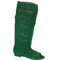 Зеленые летние кожаные сапоги