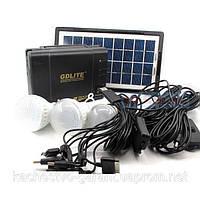 Портативный аккумулятор для туризма GDLITE GD-8017 (солнечная батарея, 3 светодиодные лампы, аккумулятор), Кие