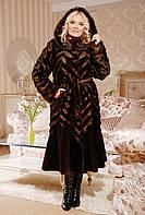 Длинная коричневая шуба под норку из эко меха, коричневая норковая шуба длинная с капюшоном, купить шубу