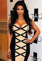 100% Оригинал. Женское черно - бежевое бандажное платье Herve Leger с переплетением спереди HL70018