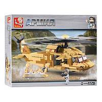Блочный конструктор для мальчиков sluban m38-0509, военный вертолёт с солдатами, 439 элемента, пластик