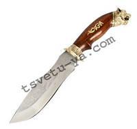 Нож охотничий Спутник Тигр с рисунком (ручная работа Украина), эксклюзивный, подарочный, кожаные ножны