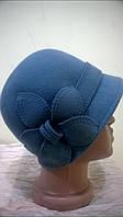 Шляпка Клош из фетра с маленькими полями с регулятором размера с украшением  в виде ромашки   .