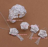 "Набор ""Цвет"" серебро 925 проба (серьги, кулон, браслет, кольцо)."