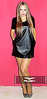 Маленькое черное платье из эко-кожи