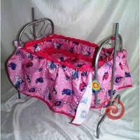 Кроватка для кукол 9375 металическая с пологом