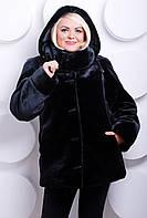 Шубка черный мутон из искусственного меха, черная шуба мутон эко мех с капюшоном, купить шубу большого размера