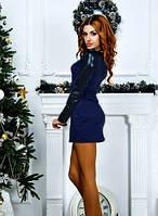 Платье женское короткое с кожаными рукавами размеры с 42 по 48