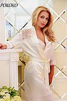 Атласный халат с кружевными вставками РОКОКО FLEUR Lingerie