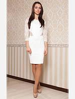 Белое женское платье с гипюром