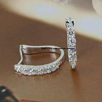 """Серьги """"Кристалл"""" серебро 925 проба, с кристаллами."""