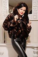 Искусственная норковая коричневая шуба, норковый полушубок коричневого цвета с капюшоном, эко мех автоледи