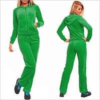 Зеленый велюровый спортивный костюм женский, Штаны имеют прямой крой и тонкую стягивающую завязку на бедрах